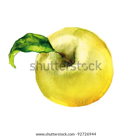 apple, watercolor painting on white background - stock photo