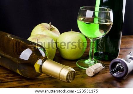 Apple wine - liqueur - stock photo