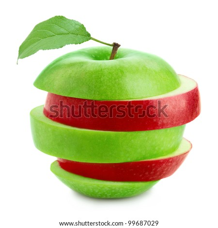 Apple wit green leaf - stock photo