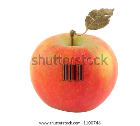 apple with a bar code of a non-existent product - stock photo