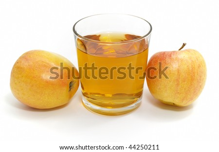 apple with a glass of juice isolated on white background