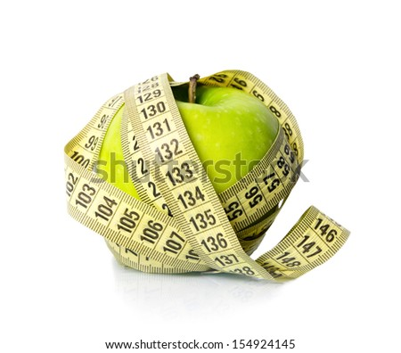 apple with a measure tape - stock photo