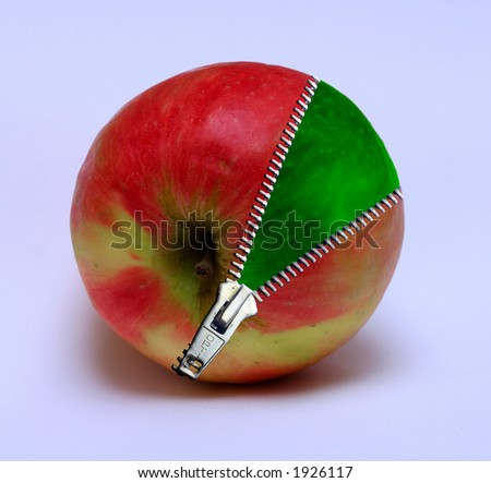 Apple with a zipper - stock photo