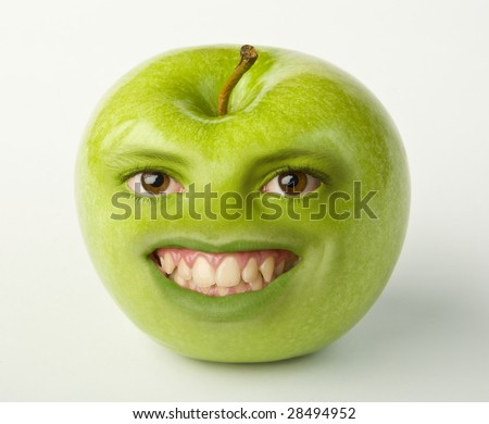 Apple with boy face