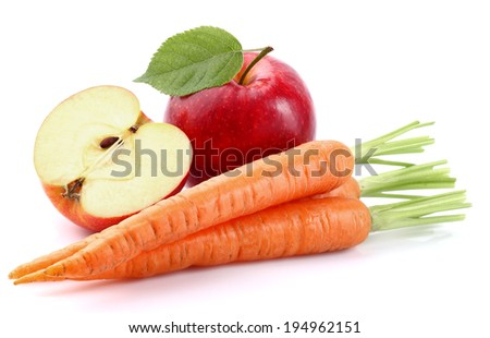 Apple with carrot - stock photo