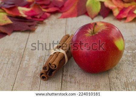 Apple with cinnamon bars