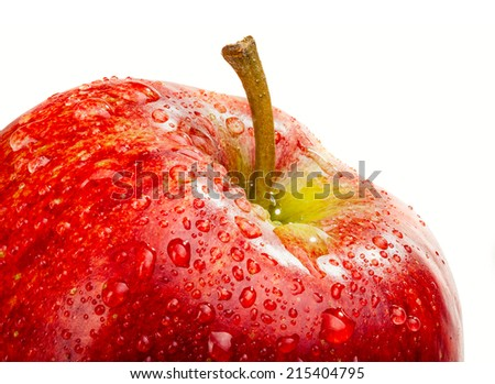 apple with drops of dew on a white background - stock photo