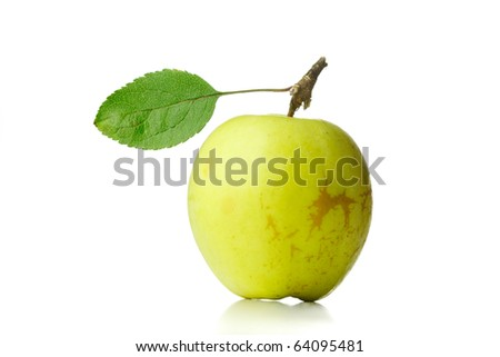 apple with green leaf isolated on white