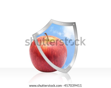 Apple with health protection shield Isolated on White. - stock photo