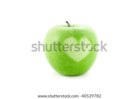 apple with heart isolated on white - stock photo