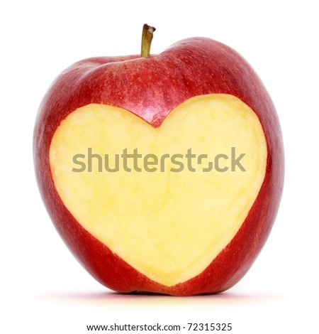 apple with heart shape - stock photo