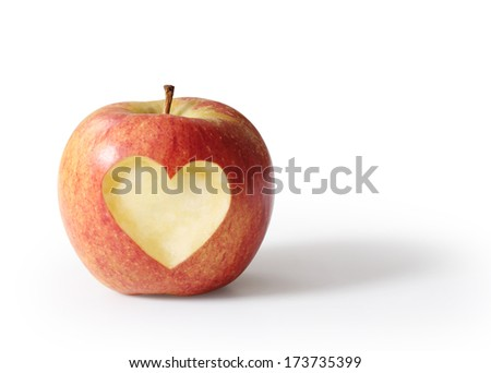 apple with heart shape Isolated on white background  - stock photo