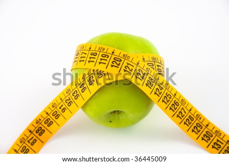 Apple with inch-tape