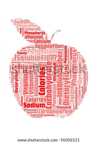 apple with info nutrition-text graphics and arrangement concept on white background (word cloud) - stock photo