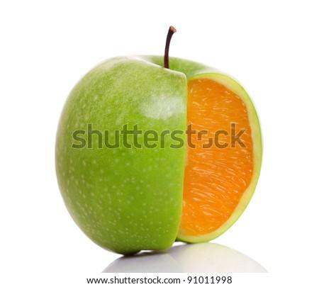 Apple with inside orange texture on white. - stock photo