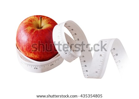 Apple with Measurement Isolated on White Background