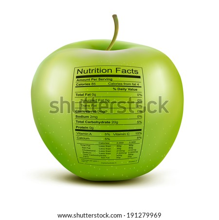 Apple with nutrition facts label. Concept of healthy food. Raster version - stock photo