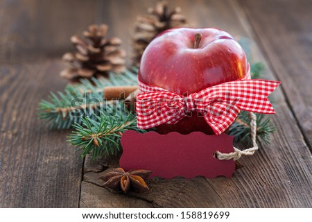apple with tag and copy space  - stock photo