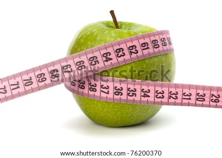 Apple with tape measure isolated on white background. Healthy lifestyle concept. - stock photo