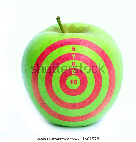Apple with target on it. - stock photo