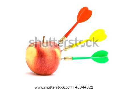 Apple with three darts isolated on white background