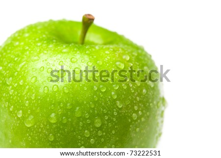 apple with water drops isolated on white - stock photo