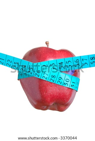 Apple wrapped around a tape symbolizing healthy food - stock photo