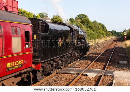 APPLEBY, ENGLAND - AUGUST 25:  Preserved Stanier Class 8F steam locomotive number 48151 pictured in Appleby, England on August 25, 2013, on the Settle to Carlisle railway.
