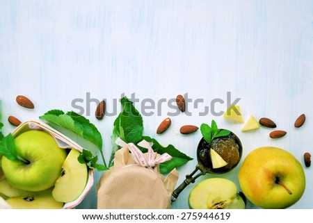 Apples and apple jam .Homemade .Background - stock photo