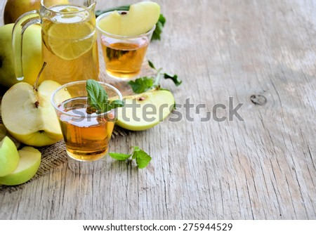 Apples and apple juice, healthy food, background - stock photo