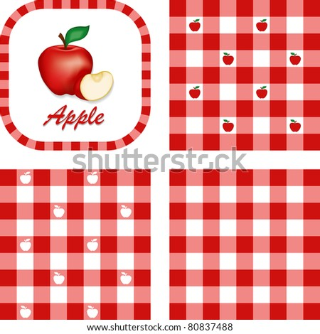 Apples and Gingham. Seamless patterns in 3 checkered designs in red and white. Fresh apple and apple slice illustration label tag with text. - stock photo