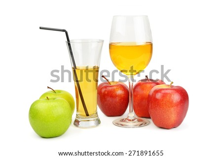 apples and juice in a glass isolated on white background - stock photo