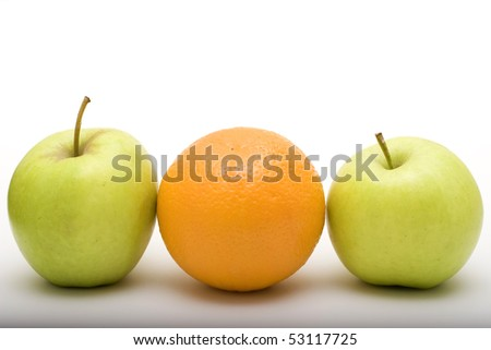 apples and orange - stock photo