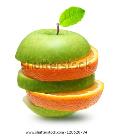 Apples and orange fruit isolated