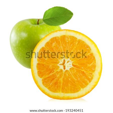 Apples and orange isolated on white background - stock photo