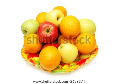 Apples and oranges in the tray isolated on white - stock photo