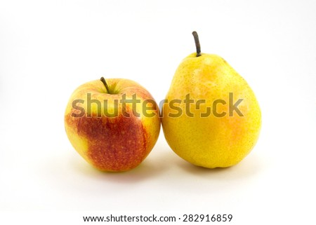 Apples and pears are isolated on a white background