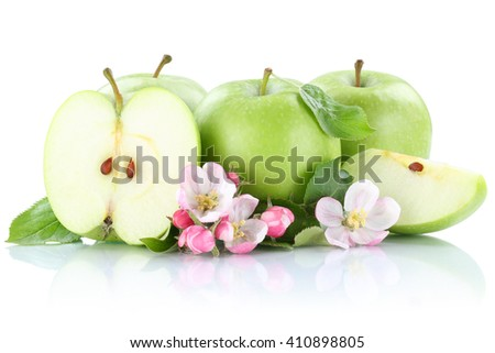 Apples apple fruit fruits slice green isolated on a white background