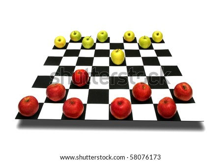 Apples as chess pieces on a chessboard  on white background  metaphor concept - stock photo