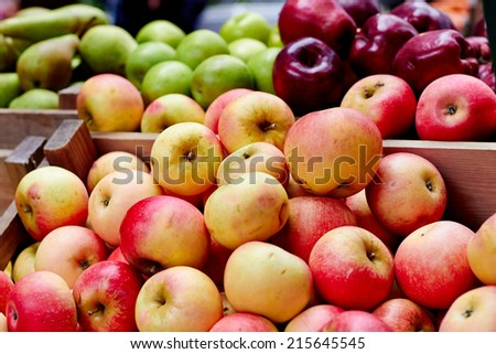 Apples at the farmers market - stock photo