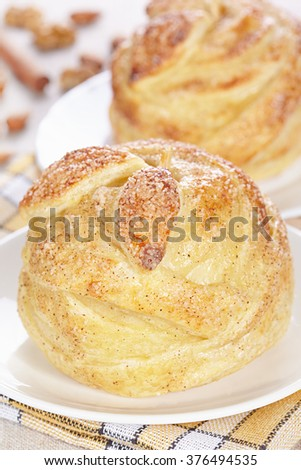 Apples baked in puff pastry - stock photo