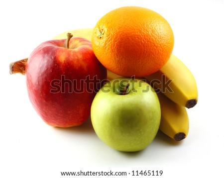 Apples, bananas and orange - stock photo