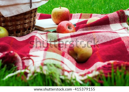 Apples Basket Fruit Checkered Plaid Picnic Green Grass Summer Time Rest Background - stock photo