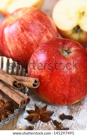 Apples, cinnamon, anise and clove with baking tin. - stock photo