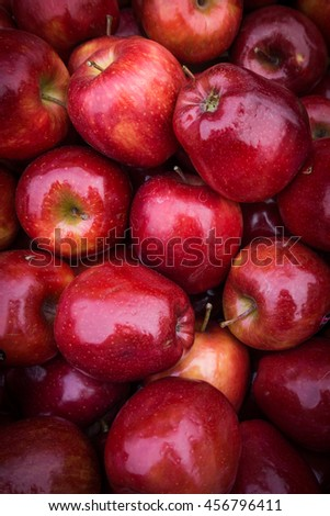 apples close up at market. Red apples background