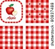 Apples & Gingham. Seamless patterns in 3 checkered designs in red and white. Fresh apple and apple slice illustration label tag with text. - stock vector