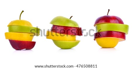 Apples,green,red,yellow on a white background.
