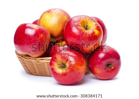 apples in a basket on white background - stock photo
