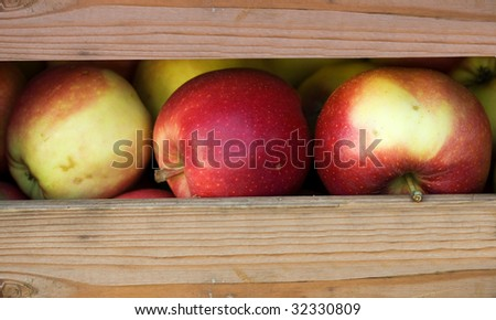 Apples in a crate ready for sale - stock photo