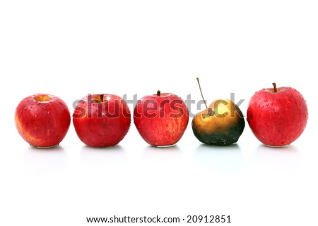 apples in one line - stock photo